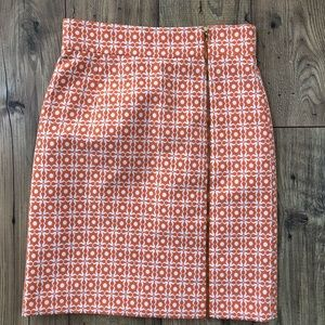 Alex Marie Orange pencil skirt gold zipper